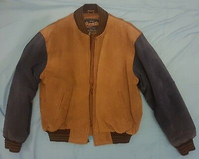 Men's Large Vintage Varsity Princeton N.J Jacket chocolate brown/dark navy blue