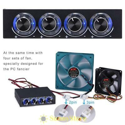 "3.5"" PC Panel 4 Channel Cooling Fan Speed Controller Ultra Bright LED Light Knob"