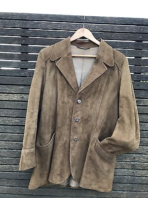 Vintage retro FLETCHER JONES mens unisex brown suede leather jacket