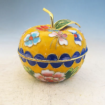 Chinese Exquisite Cloisonne Hand-painted Apple Shape Pot