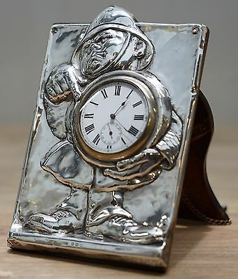 Very Rare Fully Hallmarked Sterling Silver Nightstand Clock Fireman Or Policeman