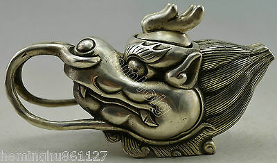 Collectible Decorated Old Handwork Silver Plate Copper Carve Dragon Head Tea Pot