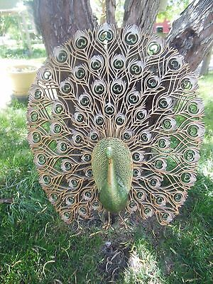 Burwood Large Mid Century Gold Peacock Plastic Wall Plaque Hanging Wall Art
