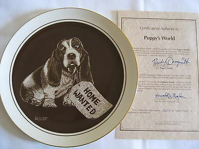 """Basset Hound Collector's Plate """"Need A Friend"""" by Rudy Droguett Plate #1604"""