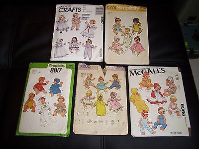 Lot of 5 Vintage BABY DOLL Clothes Sewing Patterns Various Sizes 12-22""