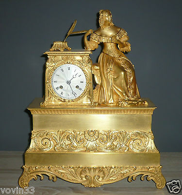 Antique french figural gilded clock Pons 1827 medaille d'or