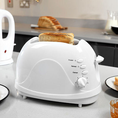 700W 2 Slice Electric Toaster Twin Slot Toast Bread Warmer Maker Black Tray