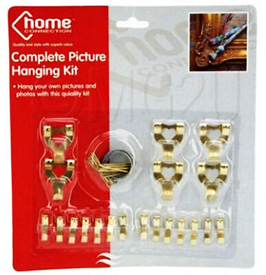 Picture Hooks Nails Wire Photo Frame Wall Tacks Canvas Hanging Kit Mirror Brass