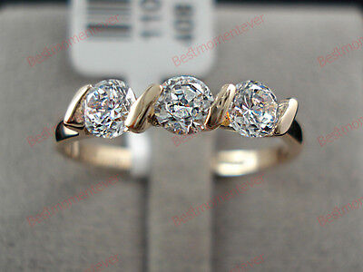 18K Rose gold 0.75 ct Round cut Diamond Three stone Ring FREE PP