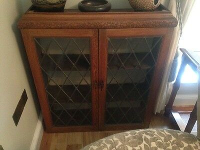 oak leaded light bookcase