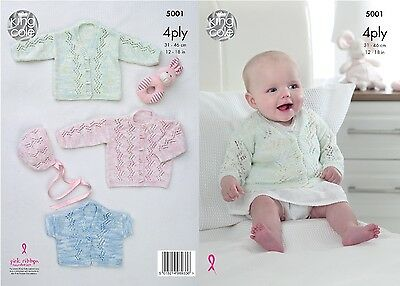 KINGCOLE 5001 Baby 4ply KNITTING PATTERN  12-18 IN -not the finished garments