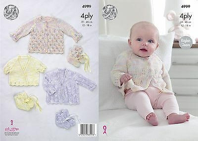 KINGCOLE 4999 Baby 4ply KNITTING PATTERN  12-18 IN -not the finished garments
