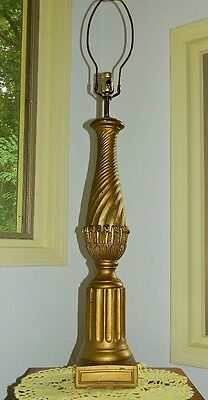 "Vtg Gilt Plaster Column Table Lamp Italian Borghese Other 39"" Hollywood Regency"