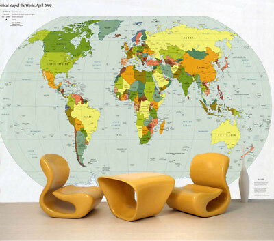 World Geographic Map 3D Full Wall Mural Photo Wallpaper Printing Home Kids Decor