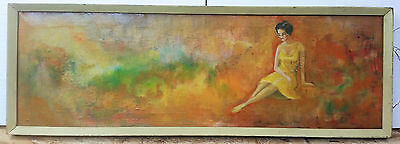 Oil on canvas hand painted unsigned 38 x 12 1/2 vintage  1950-60`s?????