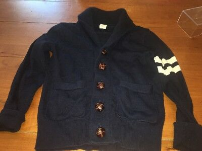 Crewcuts Navy Blue Leather Button Cardigan Sweater 4 5 Boys