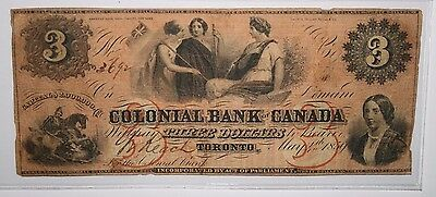 1859 Colonial Bank of Canada Three Dollar Toronto Note