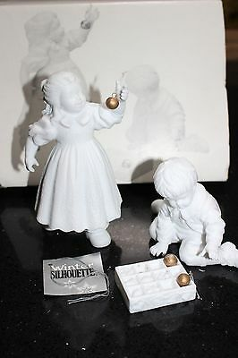 DEPT. 56 Winter Silhouette Hanging the Ornaments White Porcelain Set of 3