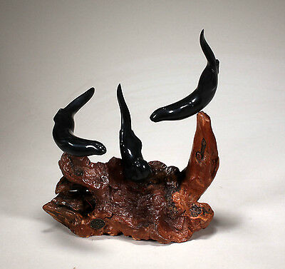 RIVER OTTER TRIO NEW direct from JOHN PERRY 12in high Ebonite Sculpture Statue