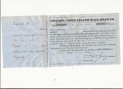 Chicago and Rock Island Rail Road Co. stock 1854 signed John Jervis