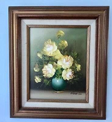 Irene Cox Framed Oil Painting Yellow Roses In Blue Vase Vintage