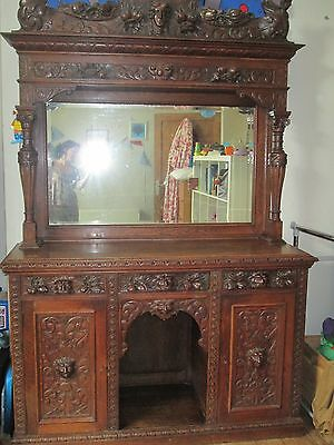 Ornate hand-carved mirror backed sideboard/Buffet - Oak or similar wood