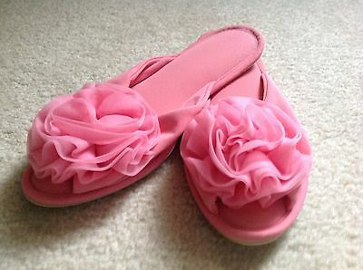 Pair Of Women's Vintage Slippers (Scuffs), Bright Pink, Size M!