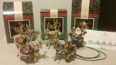 1992 Santa Reindeer Complete Set of (5) Hallmark Keepsake Ornaments