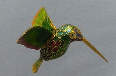 Fabulous Cloisonne Hummingbird Ornament Figurine with Brass Stand