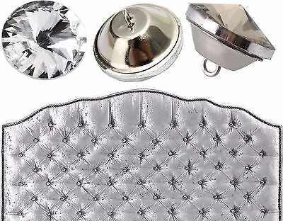 20/25/30mm Diamante Crystal Glass Button Round Upholstery Headboard Chair Sofa