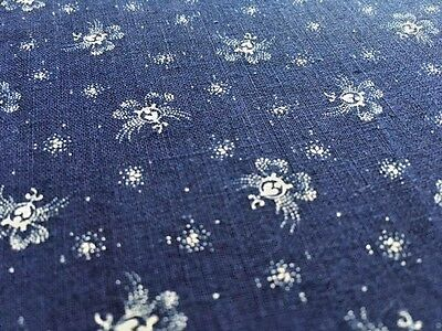 """19th C Indigo Blue and white fabric floral Cotton 1 YRD+ X 24"""" W Selvedges"""