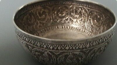 "Antique Vintage Sterling Silver Authentic Thai Siam Water Festival Bowl 2"" 61.3g"