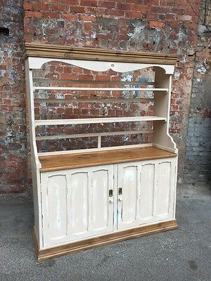 Large Painted Shabby Chic Distressed Pine Kitchen Dresser With Open Shelves