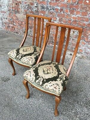 Pair Of Antique Victorian Spoon-Back Oak Dining Chairs - Occasional Side Chairs
