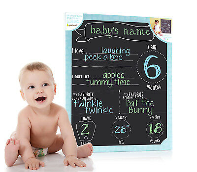 Pearhead All About Baby Photo Sharing Chalkboard with Multi-Colored Chalk