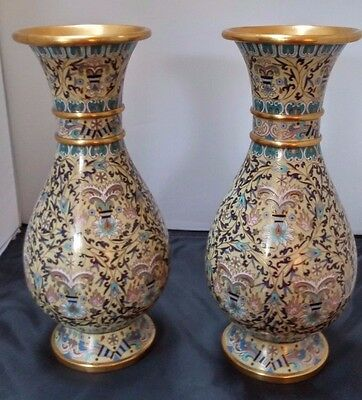 """Matched Pair Of Exquisite 20Th Century 12 1/2"""" By 5 1/4"""" Asian Cloisonne Vases"""