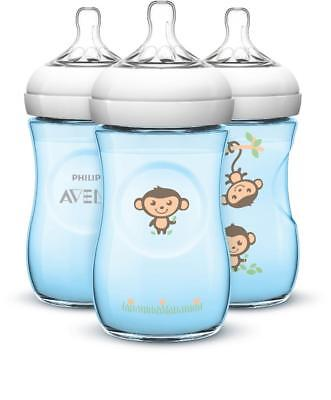 Avent BPA Free 3 Pack 9 Ounce Decorated Natural Bottle - Blue Monkeys