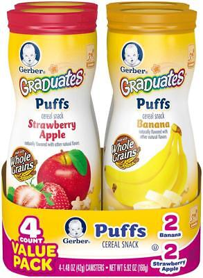 Gerber Graduates Banana and Strawberry Apple Puffs Variety Pack 5.92 Ounce - 4 P