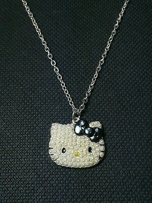 1x Girls Women's Hello Kitty Faux Pearls Pendant Necklace Brand New Cute