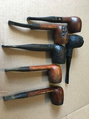 Vintage lot of used Unmarked  smoking pipes 6 Estate Pipes Fast Free Shipping