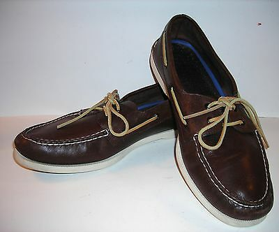 Men's SPERRY TOP-SIDERS BOAT SHOES brown LEATHER, Size 14 W, NICE!