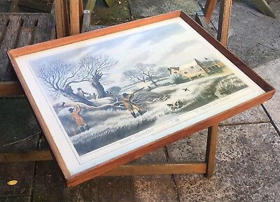 Vintage Serving Tray. Wood With Hunting Scene Formica Insert.
