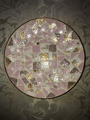 """Decorative Mosaic Plate Pink Purple White Gold 8.5"""" Diameter From One Kings Lane"""
