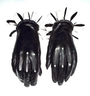 Black Kid Leather Gloves ~ Size 7 1/2 ~ Pink Flair Cuff Accent