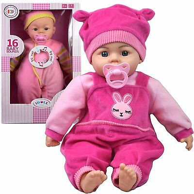"18"" New Born Soft Bodied Baby Doll Toy with Dummy Baby Sounds Crying Talking"