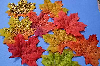 Autumn Fall Leaves 10 Scrapbooking Embellishment Diy Craft Card Red Orange Green