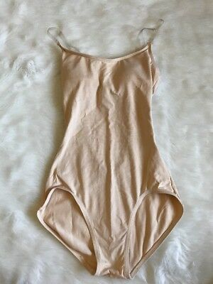 Capezio Camisole Leotard With Clear Transition Straps Nude Size XS