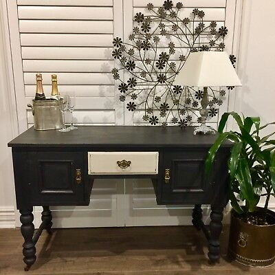 Edwardian Antique Desk Console Hall Table C.1910 Refurbished In Black And Latte