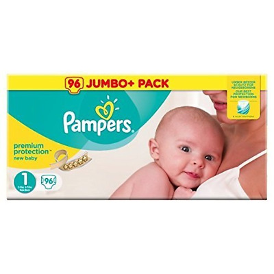 Pampers Size 1 New Baby Nappies For Newborn 2-5 kg - 0-3 month Pack of 96