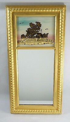 Antique Federal-Period Glass Reverse Painting Tablet Mirror